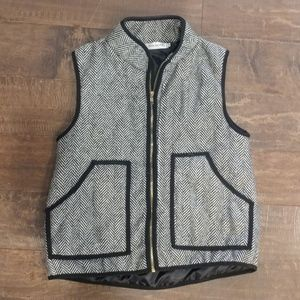Herringbone Vest Women's Small Black and White